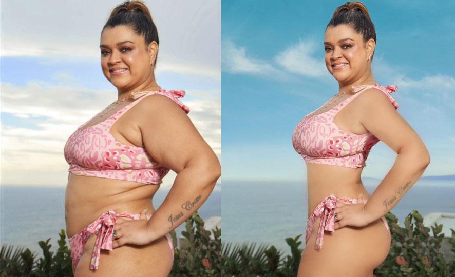 Antes e depois de uma foto editada no photoshop